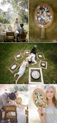 Don't be afraid to have fun incorporating your Salvador Dali obsession into your wedding photos- your family will cherish images of you laying in the grass with framed clocks for generations to come.