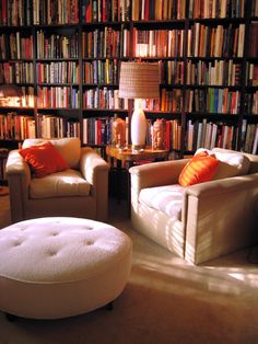 A home library can easily become the favorite room of the house. HGTV fansrk1941 uses the room to sit back on the comfortable chairs and read a book next to a table lamp that provides the perfect amount of lighting. The wall of books acts as the only decor in the room, which evokes a calm feel.