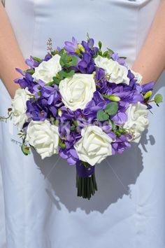 Elegant Artificial Purple Freesia and Ivory Rose Bridal Wedding Bouquet #artificialflowers #wedding #weddingflowers #bouquet #flowers #bridal #silkflowers #freesia #roses #purple