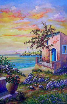 Antonino Cammarata ~c.c.c~ Scicilian Sunrise~ Italian Painter ~ Oil On Linen ~ paesaggi, quadri, olio su tela, vendita dipinti, pittori italiani, cammarata, Arteindiretta Dipinti su commissione