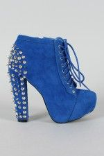 Terry Studded Spike Lace Up Platform Bootie - must have