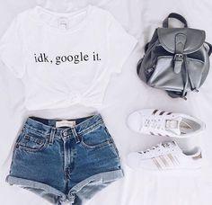 shirt google it idk white t-shirt short sleeve white t-shirt adidas superstars grey bag backpack jeans shorts short girl hot pants