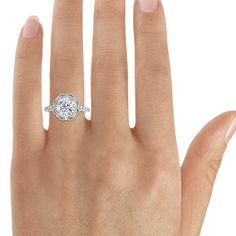 White Sapphire & Diamond Engagement Ring by PristineCustomRings