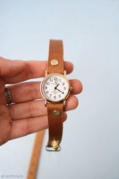chestnut ginger leather bracelet wrap around wrist with gold watch face $49.00, via petitJuJu
