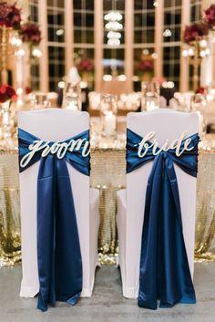 Richly hued gilded goodness: http://www.stylemepretty.com/texas-weddings/houston/2015/04/27/winter-glam-wedding-with-navy-sequins/ | Photography: Dana Fernandez - http://www.danafernandezphotography.com/