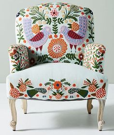 Jimena Occasional Chair - Pretty upholstered chair w/ applied felt & embroider - Birds, flowers & other plant motif - Whimsical decor furniture chair Cool Furniture, Living Room Furniture, Painted Furniture, Furniture Design, Furniture Dolly, Furniture Stores, Small Living Room Chairs, Retro Furniture, Furniture Upholstery