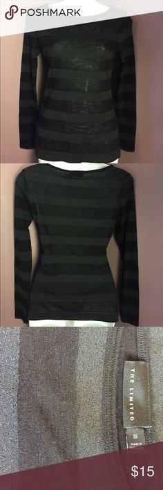The Limited Long Sleeve Knit Top w stripes The Limited Long-Sleeve Knit Top with alternating black and metallic black stripes. Acrylic, Wool & Metallic Blend. Excellent Used Condition! ❤️ bundle and save ❤️ The Limited Tops Tees - Long Sleeve