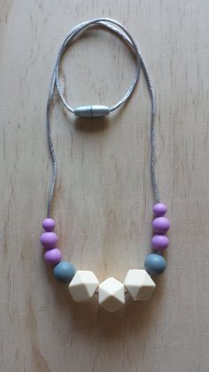 Silicone Teething Necklace-Rose in Purple by IndigoLaneDesign