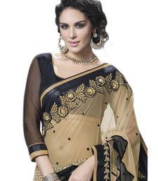Buy Tan embroidered Crepe saree with blouse crepe-saree online