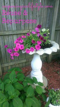 Flowers in Birdbath reuse & repurpose