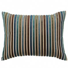 Your sofa, chair or bed may have met its match with our Cool Velvet Stripe Pillow. The multicolor design incorporates varying shades of gray, blue, brown and g… Brown And Blue Living Room, Brown And Grey, Brown Teal, Living Room Bedroom, Living Room Decor, Master Bedroom, Bedroom Decor, Dream Bedroom, Master Suite