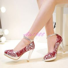 Womens Ladies Party Prom Wedding Shoes Ankle Strap Floral High Heels Shoes Pumps  | eBay
