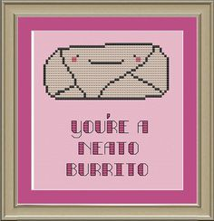 Burrito cross-stitch pattern, $3. | 27 Things Every Self-Proclaimed Burrito Lover Needs Right Now