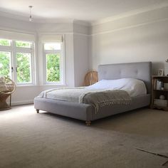 Becca used Dulux White Mist to create this bright and spacious bedroom.