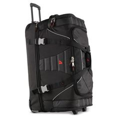 """Athalon Split Compartment Duffel at Groskopfs Fine Luggage and Gifts  Ingenious trap door design lets you keep shoes and laundry separate from the main compartment. Features a hidden telescoping handle, sealed in-line skate wheels, zippered pockets, and comfy handles. 29"""" x 18"""" x 14"""". 9 lbs. Large Luggage, Trap Door, Keep Shoes, Skate Wheels, Duffle Bags, Door Design, Separate, Laundry, Handle"""