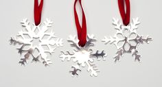 Holiday Snowflake Ornament Decoration: Precious Snowflakes created in 3 styles or complete set of 3 made in sterling silver or white brass. One Sale for the holidays.  Please email for pricing.