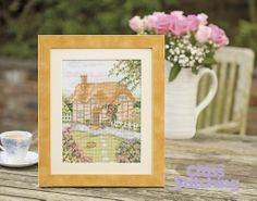 Escape to the #country! You'll be longing for a rural retreat with fab curb-appeal like this one, when you stitch this thatched #cottage design from #JennyBarton – so full of detail! Find the chart in the new issue 217 of The World of Cross Stitching magazine