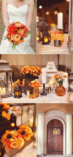I love the use of lanterns and candles here- makes for a soft, warm, intimate feeling for Fall. Not so big on the flower types, though.
