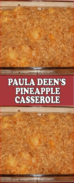 PAULA DEEN'S PINEAPPLE CASSEROLE I have two pineapple casseroles here, think this might be the winner. Make this pineapple casserole gluten free, or traditional — both are winners! Baked Pineapple, Pineapple Recipes, Pineapple Cheese Casserole, Paula Deen Pineapple Casserole Recipe, Paula Deen Broccoli Casserole, Casserole Dishes, Casserole Recipes, Thanksgiving Recipes, Holiday Recipes