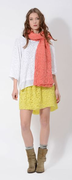 #lace #skirt and lace #skarf for a loose #fitting #yellow #orange #MICHIGAN