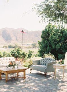 Wedding lounge - A blue and aqua + short sleeves wedding dress for a sophisticated garden wedding   Photo by Caroline Tran   Read more on sodazzling.com #gardenwedding #weddingblog