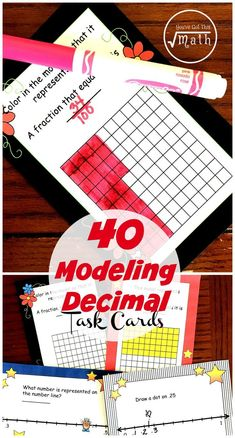 These 40 modeling decimal task cards focuses on children modeling decimals using decimal grids and number lines. Death Parade, Math Resources, Math Activities, Math Games, Line Math, 5th Grade Math, Fourth Grade, Math Projects, Math Notebooks