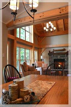 Timber Frame Interior Design - Normerica Authentic Timber Frame  I love the mix of timber and sheet rock
