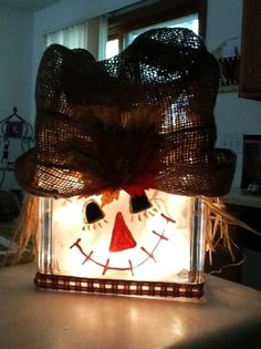2014 Cool Scarecrow lighted glass block Homemade Crafts - Snowman, Mesh Hat Thanksgiving decoration