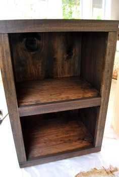 """Love the look of this stained wood. They used: Minwax stain in """"Dark Walnut"""" and Safecoat Acrlacq"""