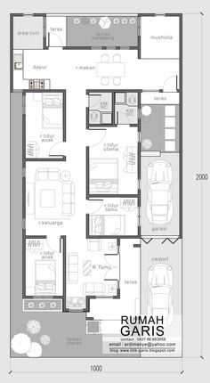 33 x 66 footprint including garage - jasa desain rumah online House Layout Plans, Dream House Plans, Small House Plans, House Layouts, House Floor Plans, Dream Houses, Minimal House Design, Small House Design, The Plan