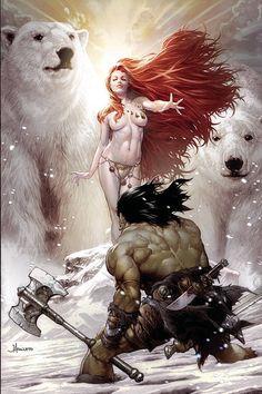 Fantasy Heroes, Fantasy Art Men, Fantasy Artwork, Fantasy Characters, Ymir, Conan The Barbarian Comic, Comic Art Girls, Fantasy Castle, Sword And Sorcery