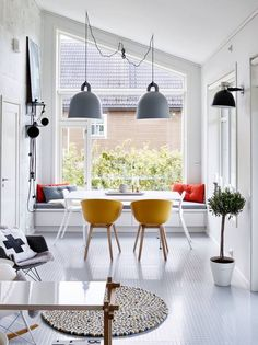 high, slanted ceilings call for bold lighting