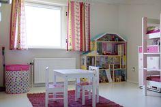 My Full House, girls room, doll-house, DIY, colorfull wallpaper, white floor