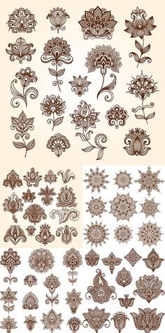 Ornamental flowers in vector Henna Tattoos, Mehndi Tattoo, Henna Tattoo Designs, Flower Tattoos, Sleeve Tattoos, Mandala Drawing, Mandala Tattoo, Mandala Art, Folk Art Flowers
