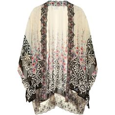Anna Sui Lace-trimmed silk-chiffon kimono jacket ($720) ❤ liked on Polyvore featuring outerwear, jackets, tops, cardigans, kimono, black jacket, floral print kimono, flower print jacket, black floral kimono and open front jacket