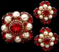 Vintage Red Rhinestone Set Brooch Earrings Baroque Pearl Prong Valentine's Day   eBay
