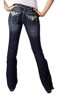 Miss Me Cream Dotted Cowhide and Pearls Flap Pocket Boot Cut Jean - Extended Sizes $99