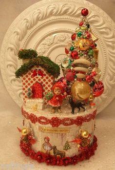 Vtg Lefton Little Red Riding Hood Christmas Box Ornaments Bottle Brush Tree | eBay