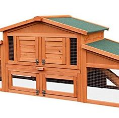 Wooden Rabbit Hutch Outdoor Pet House Cage for Small Animals with 2 Run Play Area 70-Inch