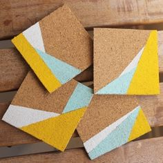 These painted cork coasters use a color-blocked pattern that makes for a quick and easy project with lovely results! // Love the shapes here. Colors are great, too. Cork Crafts, Diy And Crafts, Arts And Crafts, Memo Boards, Bulletin Boards, Diy Bird Feeder, Art Diy, Cork Coasters, Coaster Furniture
