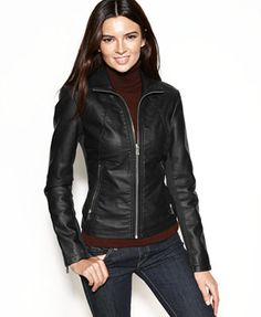 Kenneth Cole Reaction Faux-Leather Zippered-Cuff Jacket