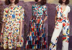 SALONI  l  Triangle Tessellation – Over-scaled Imagery – Abstract Floral Shapes – Geometric Pattern Mixes – Colour Clash – Bokhara Pattern LONDON Fashion Week
