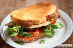 Sandwich de pollo y canónigos. Receta de aprovechamiento de sobras para servir como merienda cena, con fotos paso a paso de su elaboración y...