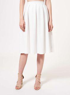 Ivory Textured Midi Skirt