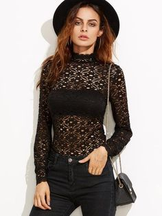 2399f209c26 SheIn offers Black High Neck Hollow Out Floral Lace Blouse   more to fit  your fashionable needs. women dress clothing