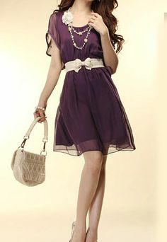 Crew Neck Butterfly Sleeve Belted High Waisted Dress