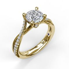 Wondrous waves of gold and diamonds interlace to enhance the center stone of this dreamy engagement ring. Trillion Engagement Ring, Engagement Ring Types, Round Diamond Engagement Rings, Diamond Wedding Bands, Emerald Jewelry, Bridal Rings, Unique Rings, Fashion Rings, Sterling Silver Earrings
