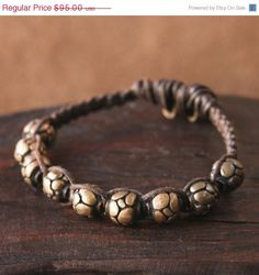 On Sale Solid Bronze Beaded Macrame Bracelet by losttribedesigns, $85.50