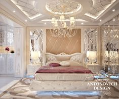 Bedroom interior design in art deco with charming notes became a fulfilled dream of the hostess of luxury apartment in Dubai. The apartment design is filled with tenderness, warmth and wonderful sense of comfort Ceiling Design Living Room, Bedroom False Ceiling Design, Luxury Bedroom Design, Home Room Design, Home Ceiling, Master Bedroom Design, Luxury Homes Interior, Luxury Home Decor, Luxurious Bedrooms