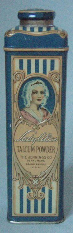 BEAUTIFUL NOS, EMBOSSED, FULL, LADY ALICE TALCUM POWDER ADVERTISING TIN MINT  #LadyAlice